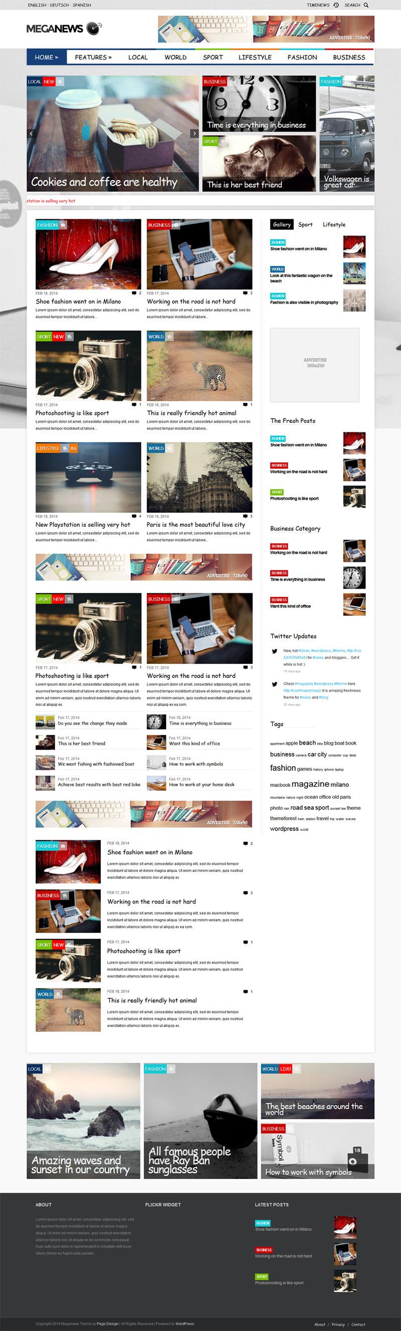 高级WordPress CMS新闻杂志主题Meganews