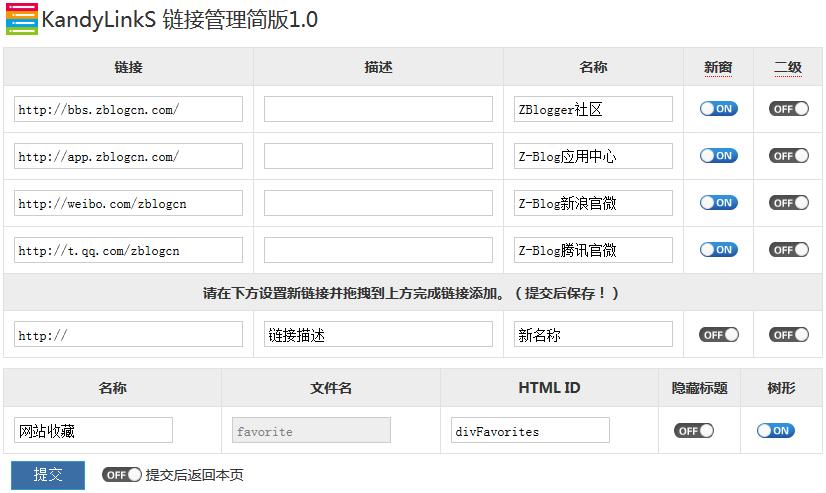 zblog php友情链接/导航栏/网站收藏链接管理插件KandyLinkS