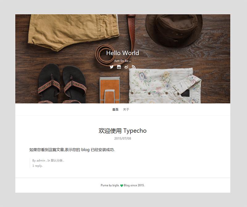 适合摄影作品分享的typecho博客主题Puma