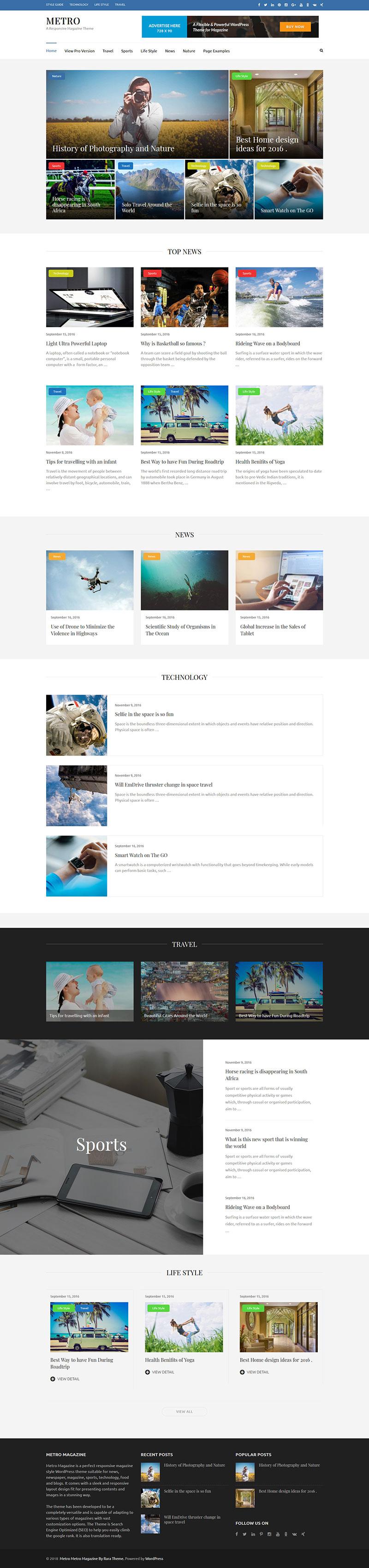 免费响应式WordPress旅游杂志网站主题Metro Magazine