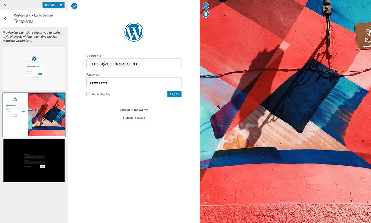 可视化WordPress后台登录界面美化插件Login Designer