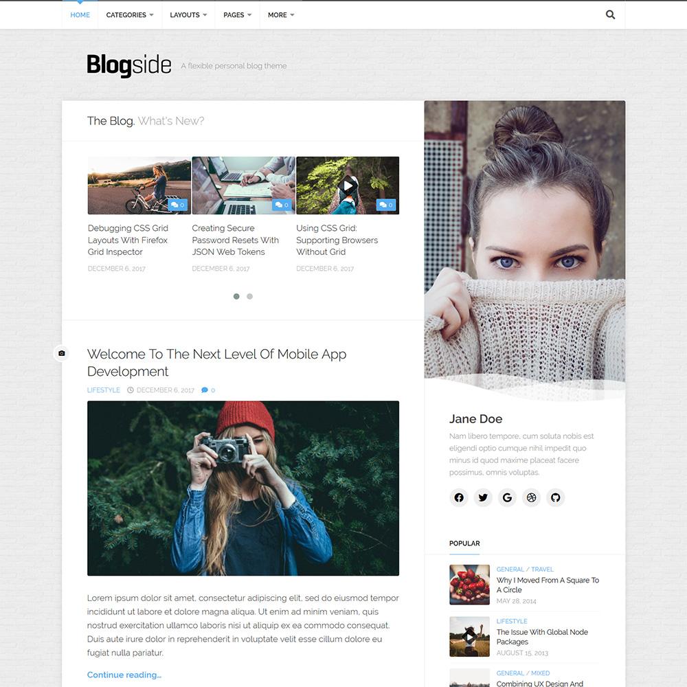 自媒体博客风格wordpress免费主题Blogside