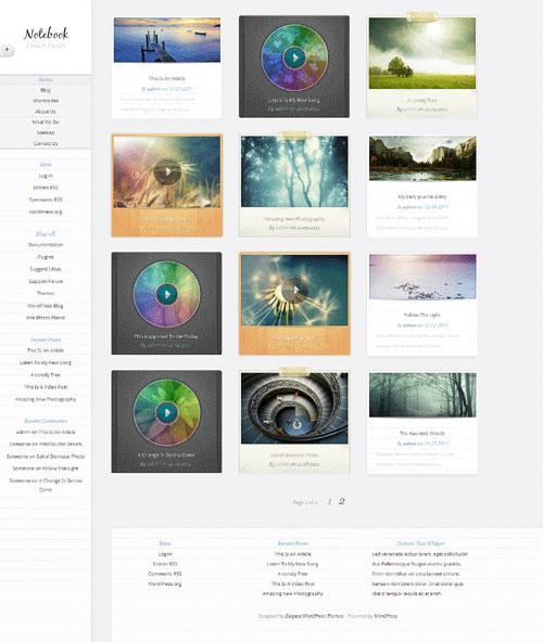 很好看的WordPress画廊展示 音乐主题ET Notebook